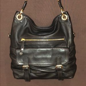 Cole Haan black leather bucket bag w/ straps